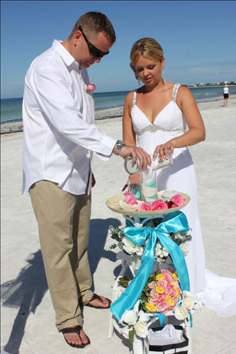 Sand ceremony at a beach wedding in Florida